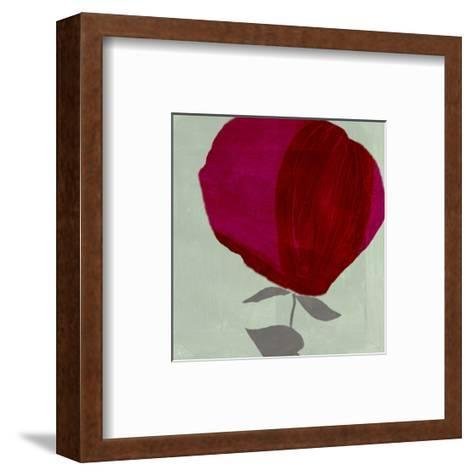 Red Brush-Stroked Rose on Green Brush-Stroked Background--Framed Art Print
