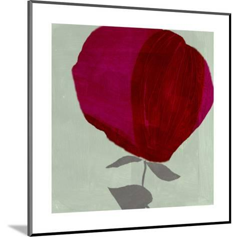 Red Brush-Stroked Rose on Green Brush-Stroked Background--Mounted Art Print