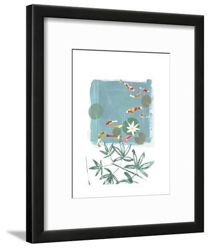 Stylized Koi Fish Swimming in Lily Pond--Framed Art Print