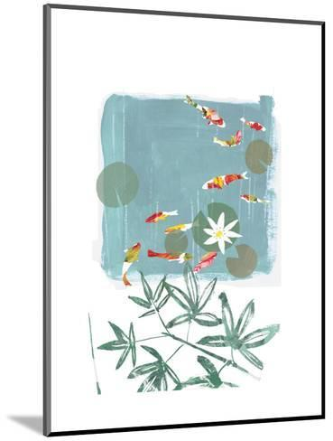 Stylized Koi Fish Swimming in Lily Pond--Mounted Art Print
