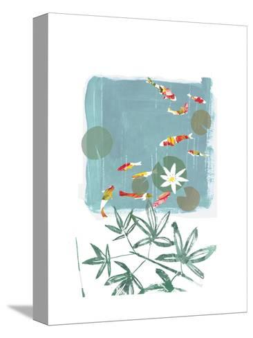 Stylized Koi Fish Swimming in Lily Pond--Stretched Canvas Print