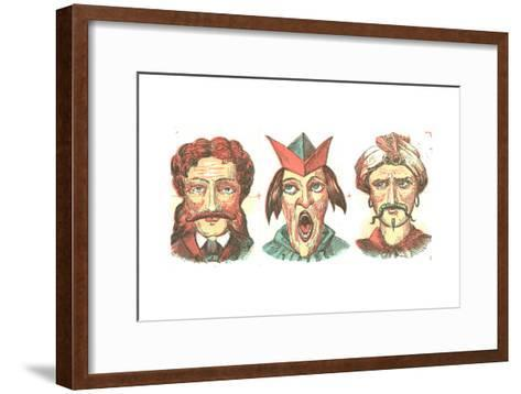 Stylized Dramatic Male Faces--Framed Art Print