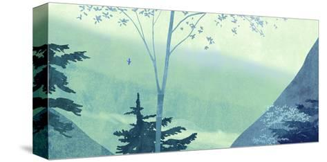 Scenery with Trees and Mountains--Stretched Canvas Print