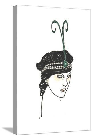 Stylized Headshot of Woman in Vintage Headpiece--Stretched Canvas Print