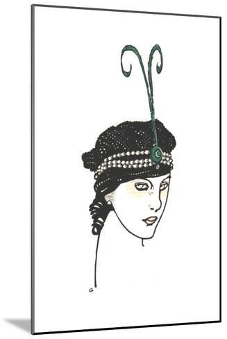Stylized Headshot of Woman in Vintage Headpiece--Mounted Art Print