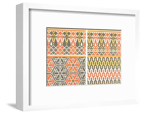 Bold Fretwork with Orange and Green--Framed Art Print