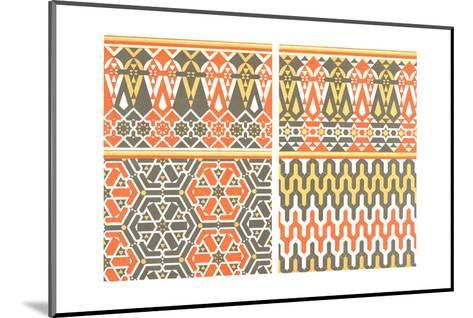 Bold Fretwork with Orange and Green--Mounted Art Print