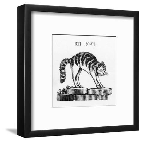 Stylized Cat with Arched Back on Stones--Framed Art Print