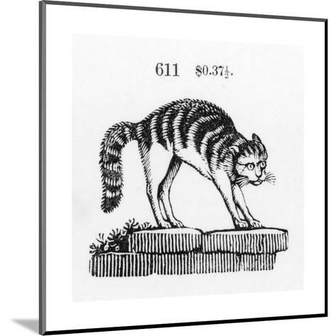 Stylized Cat with Arched Back on Stones--Mounted Art Print