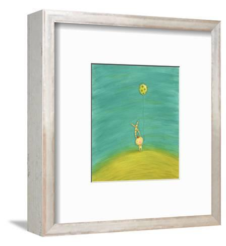 Whimsical Rabbit with Striped Ears Holding Green Spotted Balloon--Framed Art Print