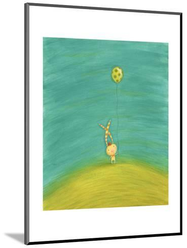 Whimsical Rabbit with Striped Ears Holding Green Spotted Balloon--Mounted Art Print