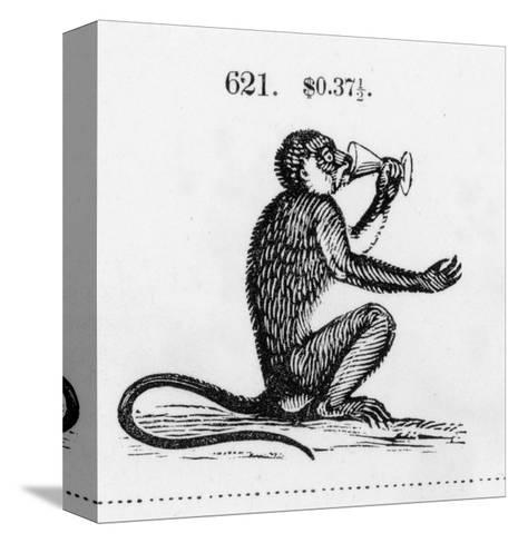 Stylized Monkey Drinking from Chalice Illustration--Stretched Canvas Print