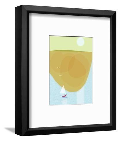 Sailboat Near Shore with Seagulls and Sun--Framed Art Print