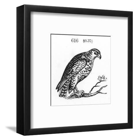 Stylized Hawk Perched on Tree Branch--Framed Art Print
