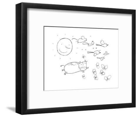 Sun, Cow, Birds, and Butterflies--Framed Art Print