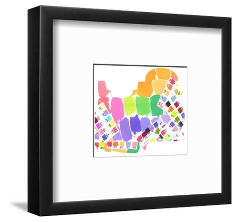 Colorful Water Color Squares--Framed Art Print