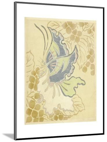 Watercolor Butterfly on Grapevine--Mounted Art Print