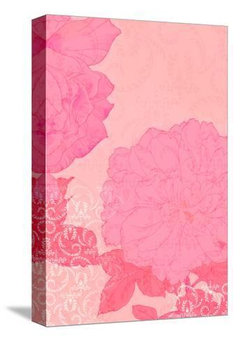 Pink Roses with Texture Background--Stretched Canvas Print