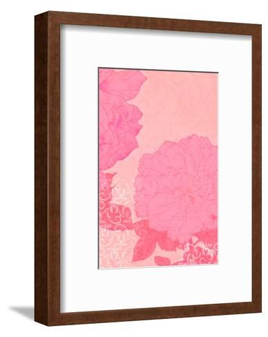 Pink Roses with Texture Background--Framed Art Print