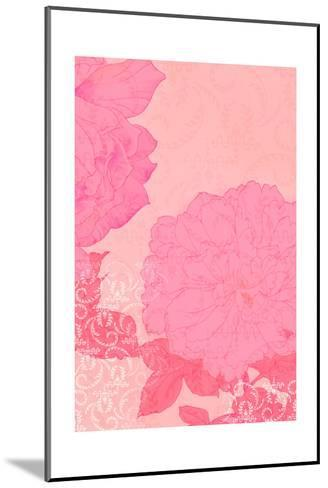 Pink Roses with Texture Background--Mounted Art Print