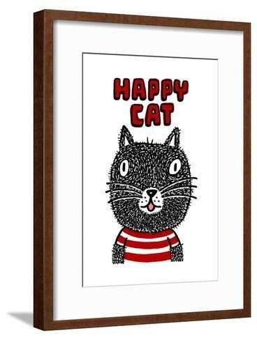 Black Cat with Happy Cat Lettering--Framed Art Print