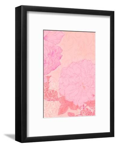 Pink Flowers with Red Leaves on Pink Texture--Framed Art Print