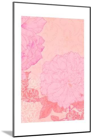 Pink Flowers with Red Leaves on Pink Texture--Mounted Art Print