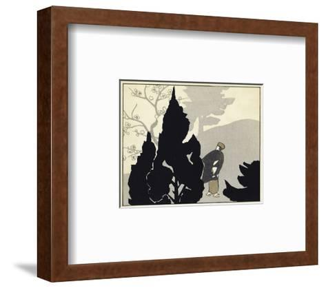 Evergreen Silhouettes with Japanese Man Watercolor--Framed Art Print