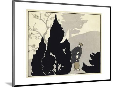 Evergreen Silhouettes with Japanese Man Watercolor--Mounted Art Print
