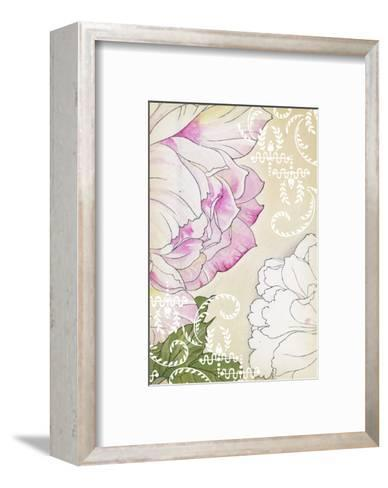 Stylized Roses with White Laurels and Swirls--Framed Art Print