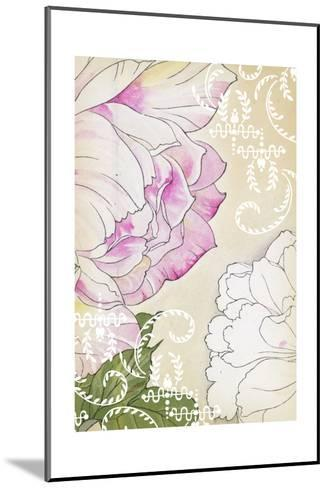 Stylized Roses with White Laurels and Swirls--Mounted Art Print