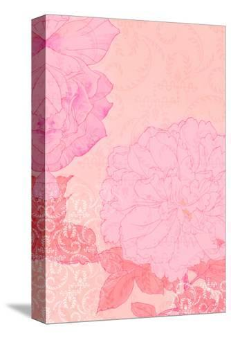 Pink Flowers with Red Leaves on Pink Texture--Stretched Canvas Print