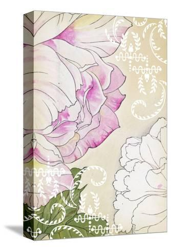 Stylized Roses with White Laurels and Swirls--Stretched Canvas Print