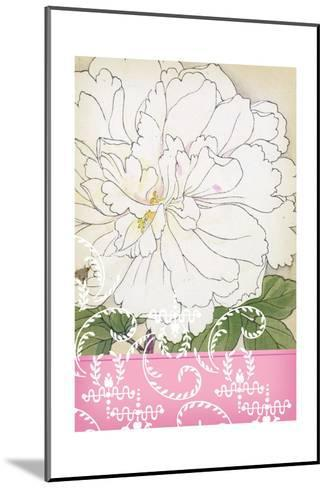 White Frilly Flower with Leafy Swirls and Pink Border--Mounted Art Print