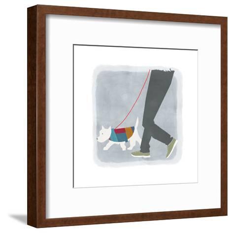 White Dog in Jacket Walking Beside Man's Legs--Framed Art Print