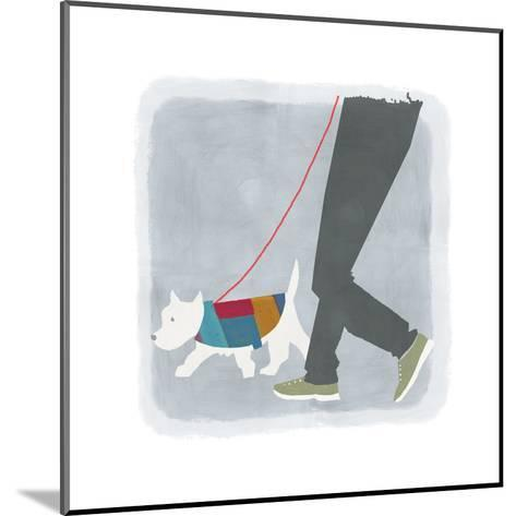 White Dog in Jacket Walking Beside Man's Legs--Mounted Art Print