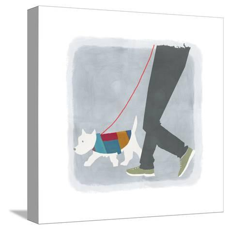 White Dog in Jacket Walking Beside Man's Legs--Stretched Canvas Print