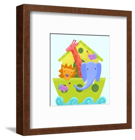 Colorful Animals Peeking Out of Ark on Scrolling Waves--Framed Art Print