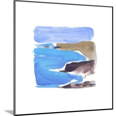 Abstract Painterly Waves on Beach--Mounted Art Print