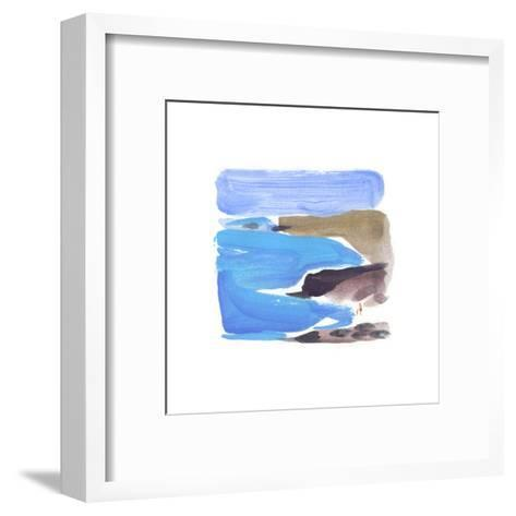 Abstract Painterly Waves on Beach--Framed Art Print