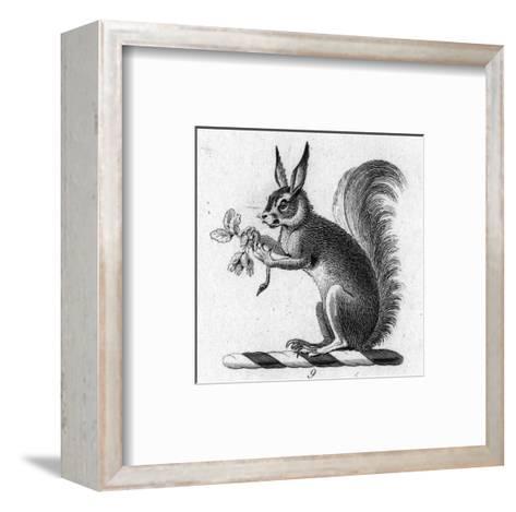 Stylized Squirrel Holding Leaves--Framed Art Print