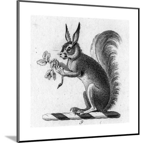 Stylized Squirrel Holding Leaves--Mounted Art Print