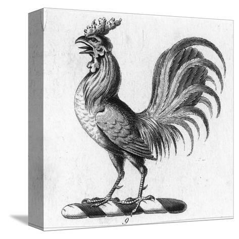 Stylized Rooster in Profile--Stretched Canvas Print