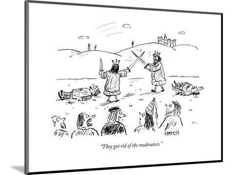 """They got rid of the moderators."" - Cartoon-David Sipress-Mounted Premium Giclee Print"