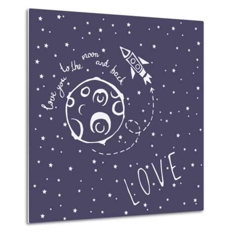 Card Love You to the Moon and Back-happiestsim-Metal Print