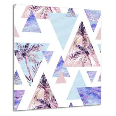 Abstract Summer Geometric Seamless Pattern-tanycya-Metal Print