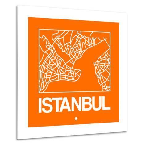 Orange Map of Istanbul-NaxArt-Metal Print