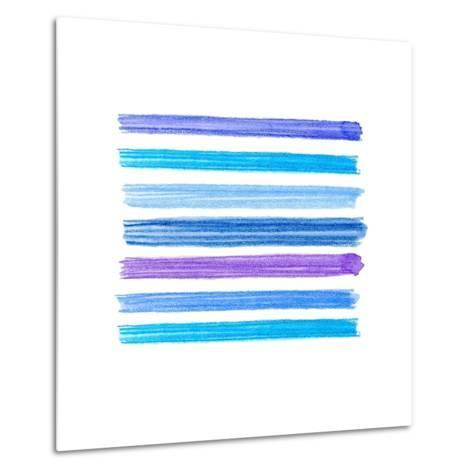 Watercolor Brush Strokes Collection. Colorful Watecolor Pencil Brushstrokes. Blue, Indigo and Lilac- Nesele-Metal Print