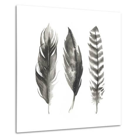 Watercolor Feathers I-Grace Popp-Metal Print