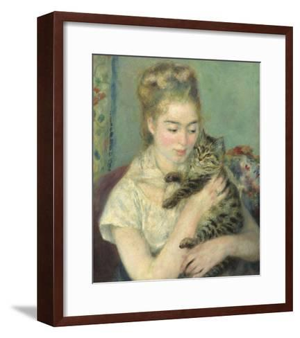 Woman with a Cat, 1875-Pierre-Auguste Renoir-Framed Art Print